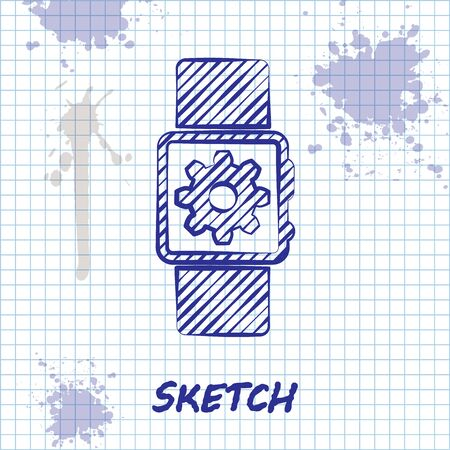 Sketch line Smartwatch setting icon isolated on white background. Smart watch settings. Vector Illustration