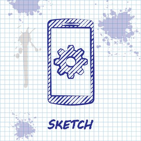 Sketch line Setting on smartphone icon isolated on white background. Mobile phone and gear. Adjusting, service, setting, maintenance, repair, fixing. Vector Illustration