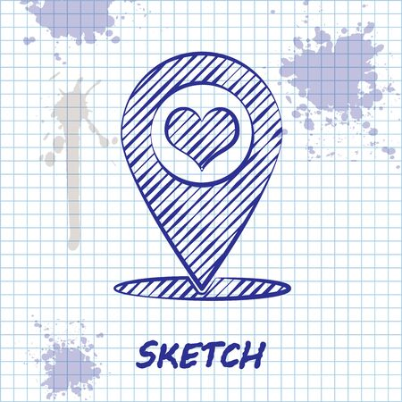 Sketch line Map pointer with heart icon isolated on white background. Vector Illustration