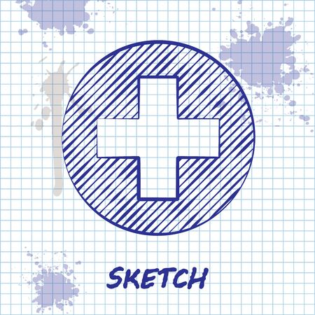 Sketch line Medical cross in circle icon isolated on white background. First aid medical symbol. Vector Illustration