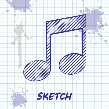 Sketch line Music note, tone icon isolated on white background. Vector Illustration Illustration