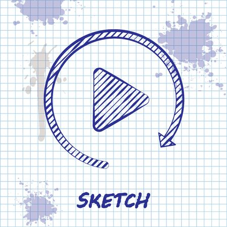 Sketch line Video play button like simple replay icon isolated on white background. Vector Illustration