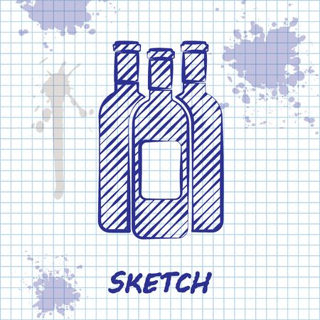 Sketch line Bottles of wine icon isolated on white background. Vector Illustration