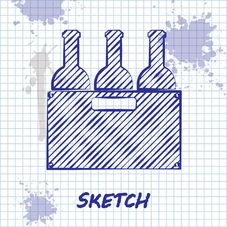 Sketch line Bottles of wine in a wooden box icon isolated on white background. Wine bottles in a wooden crate icon. Vector Illustration Illusztráció
