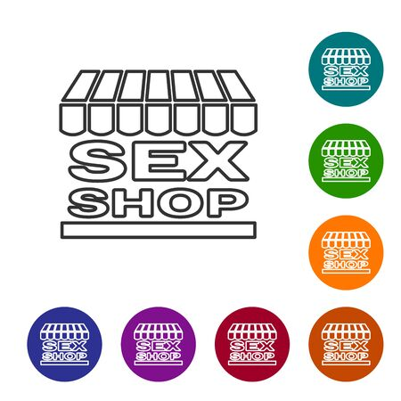 Grey line Sex shop building with striped awning icon isolated on white background. Sex shop, online sex store, adult erotic products concept. Set icon in color circle buttons. Vector Illustration