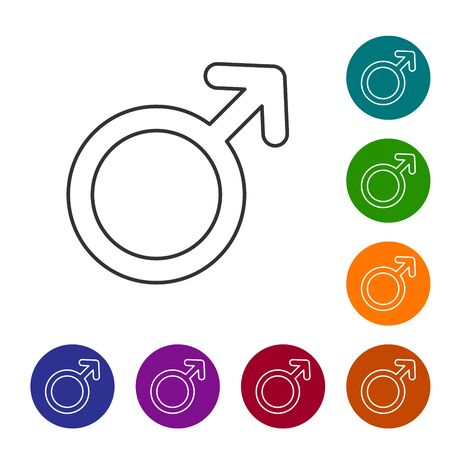 Grey line Male gender symbol icon isolated on white background. Set icon in color circle buttons. Vector Illustration