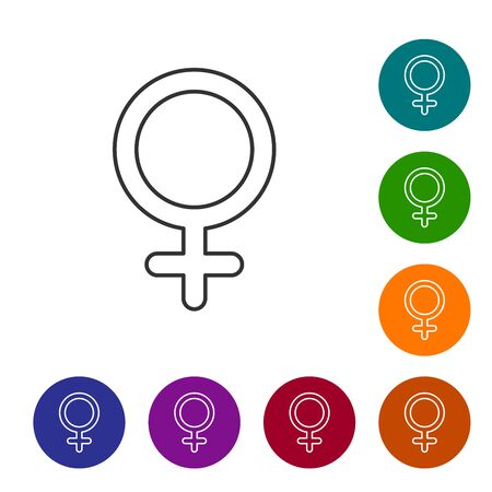 Grey line Female gender symbol icon isolated on white background. Venus symbol. The symbol for a female organism or woman. Set icon in color circle buttons. Vector Illustration 向量圖像