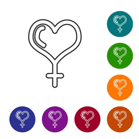 Grey line Female gender symbol and heart icon isolated on white background. Venus symbol. The symbol for a female organism or woman. Set icon in color circle buttons. Vector Illustration