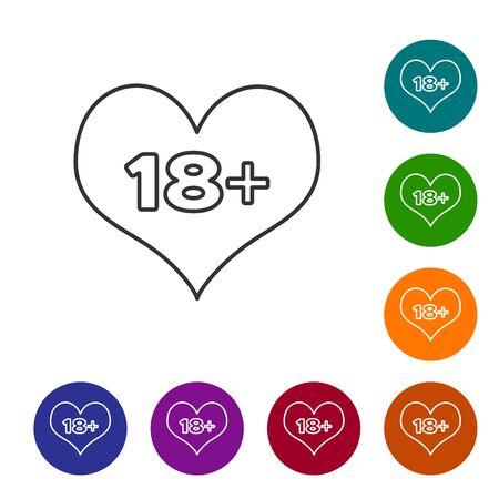 Grey line 18 plus content heart icon isolated on white background. Adults content only icon. Set icon in color circle buttons. Vector Illustration