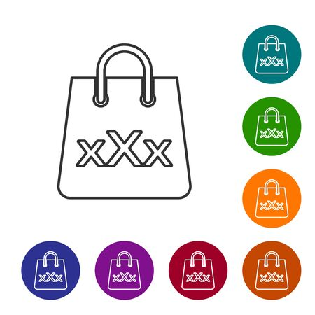 Grey line Shopping bag with a triple X icon isolated on white background. Set icon in color circle buttons. Vector Illustration