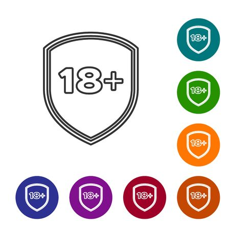 Grey line Shield with inscription 18 plus icon isolated on white background. Adults content only. Protection, safety, security, protect concept. Set icon in color circle buttons. Vector Illustration Illustration