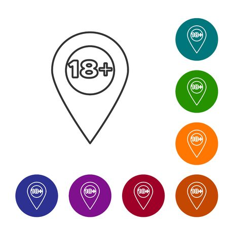 Grey line Map pointer with 18 plus icon isolated on white background. Age restriction symbol. 18 plus content sign. Adults content only icon. Set icon in color circle buttons. Vector Illustration