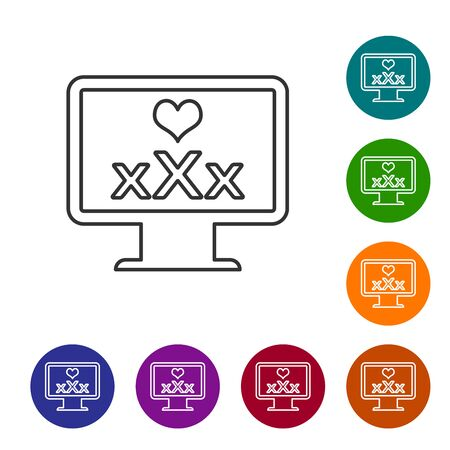Grey line Computer monitor with 18 plus content heart icon isolated on white background. Age restriction symbol. XXX content sign. Adult channel. Set icon in color circle buttons. Vector Illustration Ilustracja