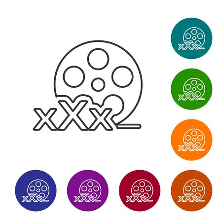 Grey line Film reel with inscription XXX icon isolated on white background. Age restriction symbol. 18 plus content sign. Adult channel. Set icon in color circle buttons. Vector Illustration