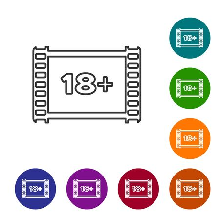 Grey line Play Video with inscription 18 plus icon isolated on white background. Age restriction symbol. 18 plus content sign. Adult channel. Set icon in color circle buttons. Vector Illustration