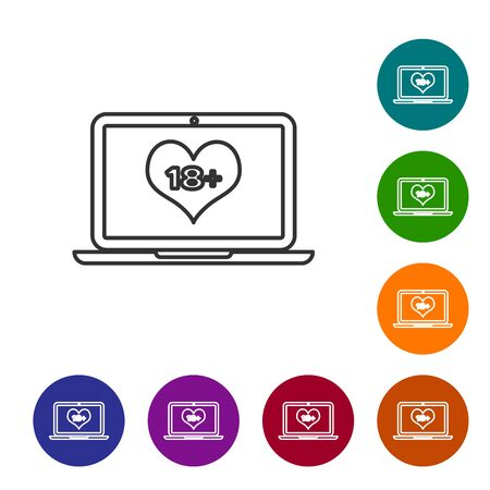 Grey line Laptop computer with 18 plus content heart icon on white background. Age restriction symbol. 18 plus content sign. Adult channel. Set icon in color circle buttons. Vector Illustration Ilustracja