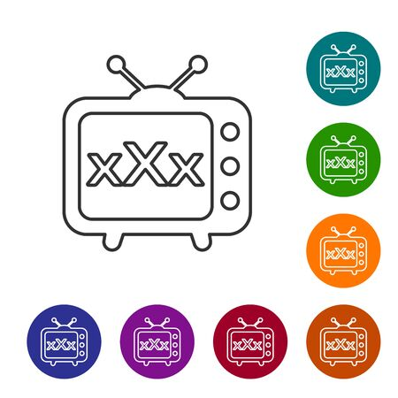 Grey line XXX tv old television icon isolated on white background. Age restriction symbol. 18 plus content sign. Adult channel. Set icon in color circle buttons. Vector Illustration