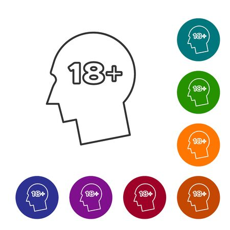 Grey line Human head with inscription 18 plus icon isolated on white background. 18 plus content sign. Adults content only icon. Set icon in color circle buttons. Vector Illustration Ilustracja