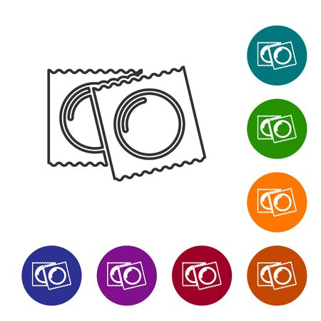 Grey line Condoms in package safe sex icon isolated on white background. Safe love symbol. Contraceptive method for male. Set icon in color circle buttons. Vector Illustration Illustration