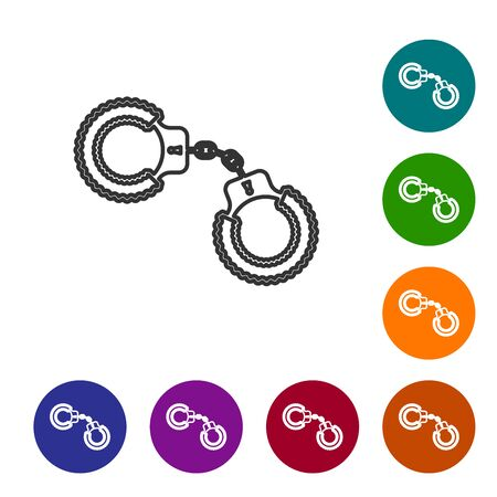 Grey line Sexy fluffy handcuffs icon isolated on white background. Handcuffs with fur. Fetish accessory. Sex shop stuff for sadist and masochist. Set icon in color circle buttons. Vector Illustration