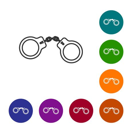 Grey line Handcuffs icon isolated on white background. Set icon in color circle buttons. Vector Illustration