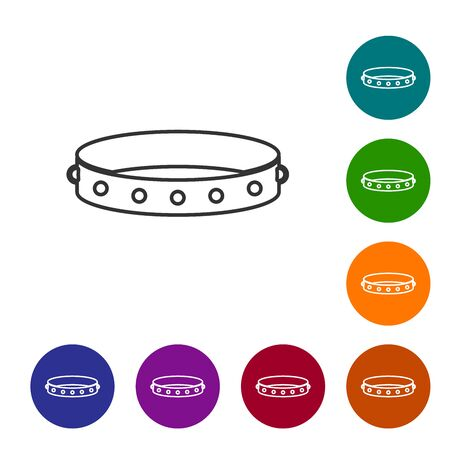 Grey line Leather fetish collar with metal spikes on surface icon isolated on white background. Fetish accessory. Sex toy for men and woman. Set icon in color circle buttons. Vector Illustration Иллюстрация