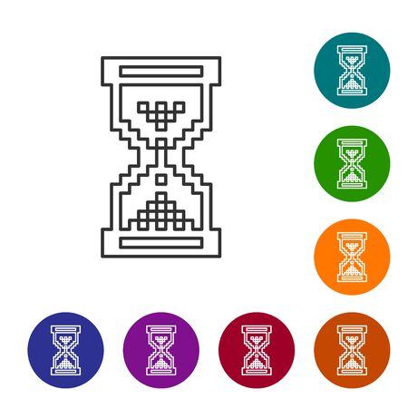 Grey line Hourglass pixel with flowing sand icon isolated on white background. Sand clock sign. Business and time management concept. Set icon in color circle buttons. Vector Illustration Illustration