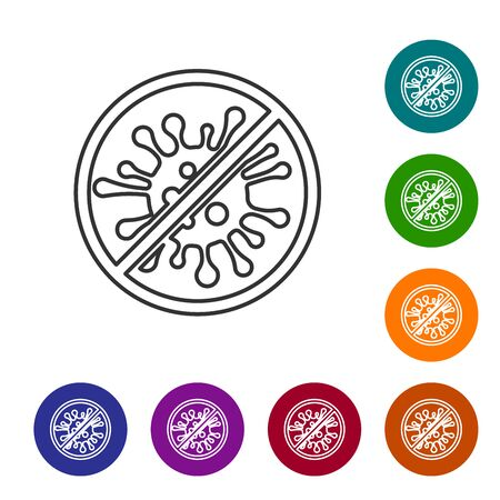 Grey line Stop virus, bacteria, germs and microbe icon isolated on white background. Antibacterial and antiviral defence, protection infection. Set icon in color circle buttons. Vector Illustration