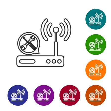 Grey line Router wifi with screwdriver and wrench icon isolated on white background. Adjusting, service, setting, maintenance, repair, fixing. Set icon in color circle buttons. Vector Illustration