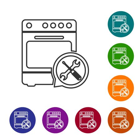 Grey line Oven with screwdriver and wrench icon isolated on white background. Adjusting, service, setting, maintenance, repair, fixing. Set icon in color circle buttons. Vector Illustration Ilustracja