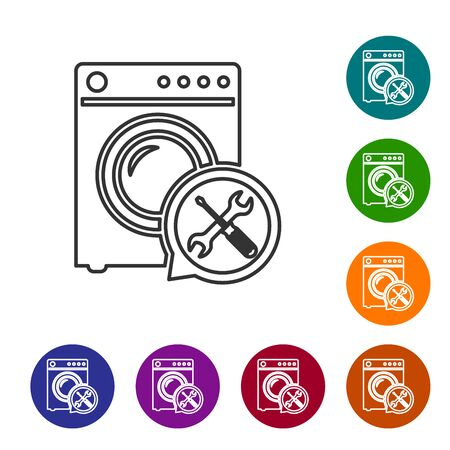 Grey line Washer with screwdriver and wrench icon isolated on white background. Adjusting, service, setting, maintenance, repair, fixing. Set icon in color circle buttons. Vector Illustration Ilustração