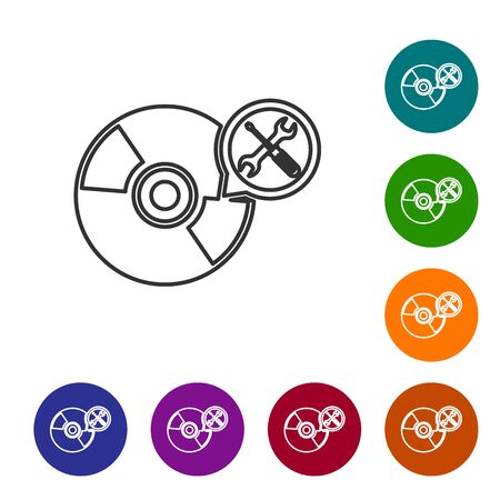 Grey line CD or DVD disk with screwdriver and wrench icon isolated on white background. Adjusting, service, setting, maintenance, repair, fixing. Set icon in color circle buttons. Vector Illustration