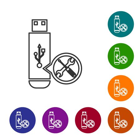 Grey line USB flash drive with screwdriver and wrench icon isolated on white background. Adjusting, service, setting, maintenance, repair, fixing. Set icon in color circle buttons. Vector Illustration