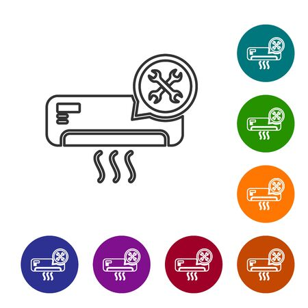 Grey line Air conditioner with screwdriver and wrench icon isolated on white background. Adjusting, service, setting, maintenance, repair, fixing. Set icon in color circle buttons. Vector Illustration Ilustração