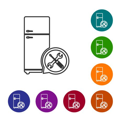 Grey line Refrigerator with screwdriver and wrench icon isolated on white background. Adjusting, service, setting, maintenance, repair, fixing. Set icon in color circle buttons. Vector Illustration  イラスト・ベクター素材