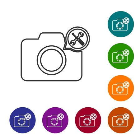 Grey line Photo camera with screwdriver and wrench icon isolated on white background. Adjusting, service, setting, maintenance, repair, fixing. Set icon in color circle buttons. Vector Illustration Ilustracja
