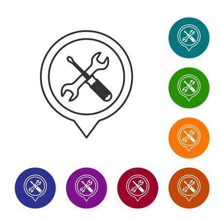 Grey line Location with crossed screwdriver and wrench tools icon isolated on white background. Pointer settings symbol. Set icon in color circle buttons. Vector Illustration