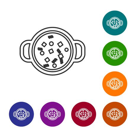 Grey line Cooking soup in pot icon isolated on white background. Boil or stew food symbol. Set icon in color circle buttons. Vector Illustration