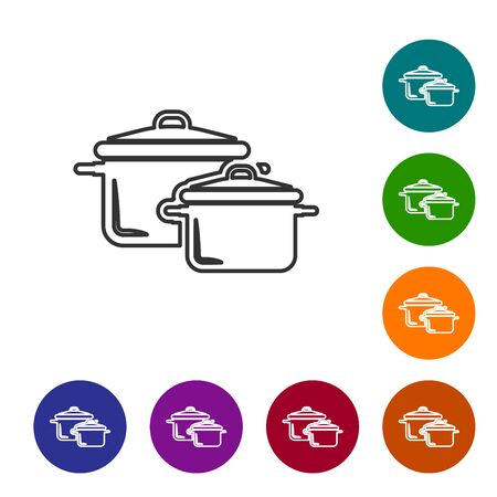 Grey line Cooking pot icon isolated on white background. Boil or stew food symbol. Set icon in color circle buttons. Vector Illustration Illustration
