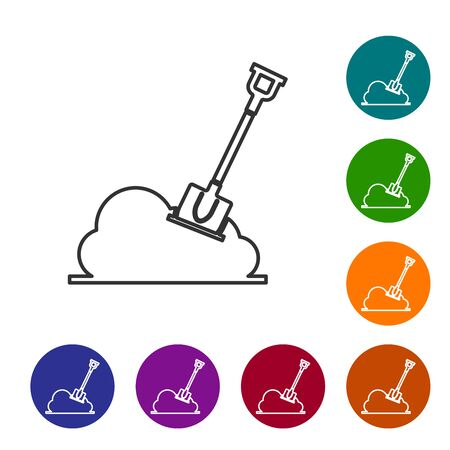 Grey line Shovel in the ground icon isolated on white background. Gardening tool. Tool for horticulture, agriculture, farming. Set icon in color circle buttons. Vector Illustration