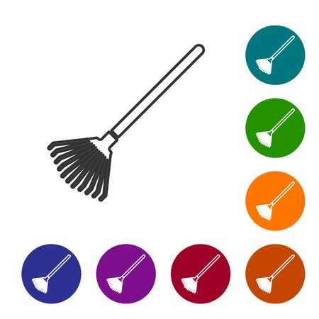 Grey line Garden rake for leaves icon isolated on white background. Tool for horticulture, agriculture, farming. Ground cultivator. Set icon in color circle buttons. Vector Illustration
