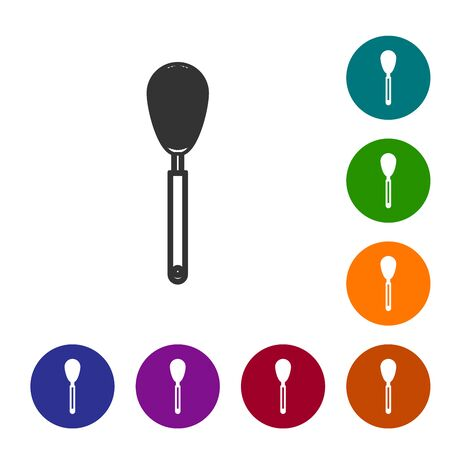 Grey line Kitchen whisk icon isolated on white background. Cooking utensil, egg beater. Cutlery sign. Food mix symbol. Set icon in color circle buttons. Vector Illustration Ilustracja