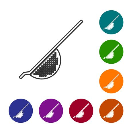 Grey line Kitchen colander icon isolated on white background. Cooking utensil. Cutlery sign. Set icon in color circle buttons. Vector Illustration Illustration