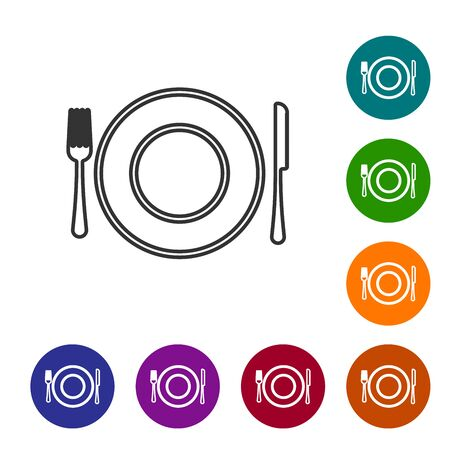 Grey line Plate, fork and knife icon isolated on white background. Cutlery symbol. Restaurant sign. Set icon in color circle buttons. Vector Illustration