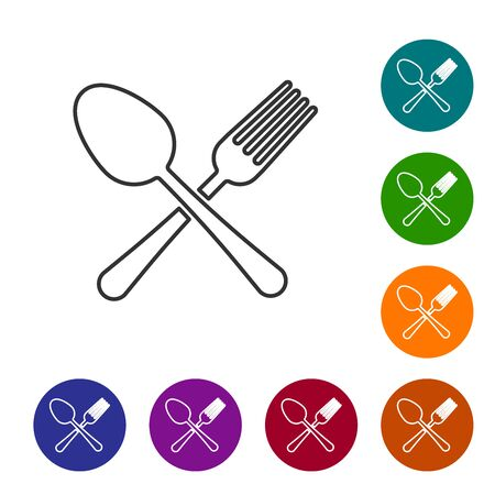 Grey line Crossed fork and spoon icon isolated on white background. Cooking utensil. Cutlery sign. Set icon in color circle buttons. Vector Illustration Ilustração