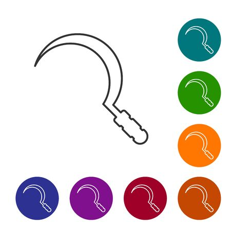 Grey line Sickle icon isolated on white background. Reaping hook sign. Set icon in color circle buttons. Vector Illustration