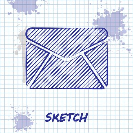 Sketch line Envelope icon isolated on white background. Email message letter symbol. Vector Illustration Ilustracja