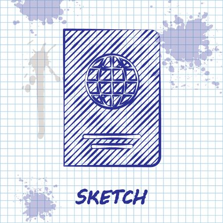 Sketch line Passport with bio metric data icon isolated on white background. Identification Document. Vector Illustration 写真素材 - 128613556