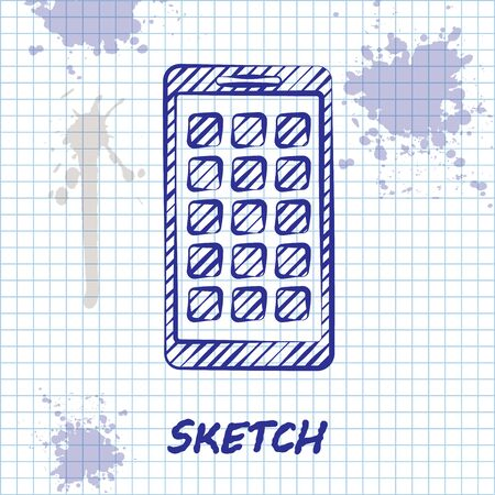 Sketch line Mobile Apps icon isolated on white background. Smartphone with screen icons, applications. mobile phone showing screen. Vector Illustration
