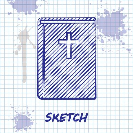 Sketch line Holy bible book icon isolated on white background. Vector Illustration Ilustracja